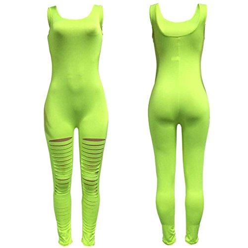 Babysbreath Donna Bodycon Tute Body Pagliaccetti Spaghetti Legging Playsuit Cinghia senza maniche Pagliaccetti verde # 2 M