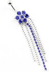 316l Surgical Steel 14g Blue Flower Five Tassels Dangle Navel Belly Ring Bar Stud Body Jewelry
