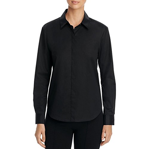 DKNY Womens Long Sleeve Collared Button-Down Top Black S by DKNY