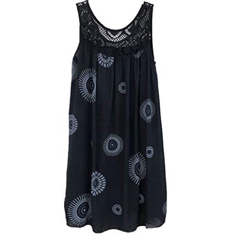 ★QueenBB★ Women's Summer Sleeveless Bohemian Print Tunic Swing Loose Pockets Knee Length T-Shirt Dress Black