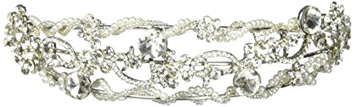 - Triple Pearl and Rhinestone Wrapped Strand Floral Headband