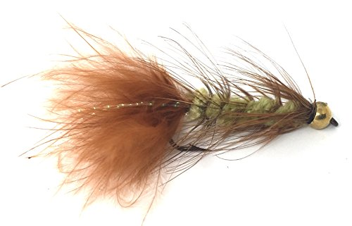 Bead Head Wooly Bugger Fly Fishing Flies for Trout and Other Freshwater Fish - One Dozen Wet Flies - Size 12 in Olive and Brown (12, Olive/Brown)