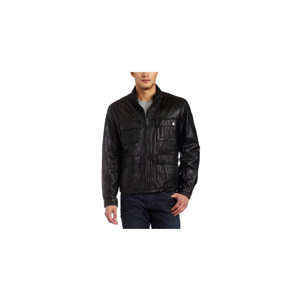 Michael Kors Mens Leather Jacket, Black, Medium