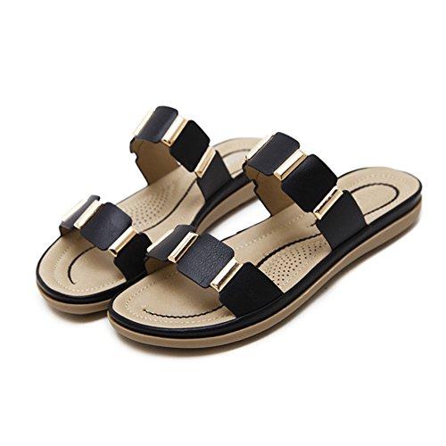 D'été en Sandales Ruiren Plates Métal Dames Chaussures pour Occasionnelles de des Noir Femmes a8TqTx