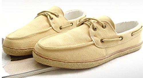 Aisun Mens Casual Toile Bateau Chaussures Jaune