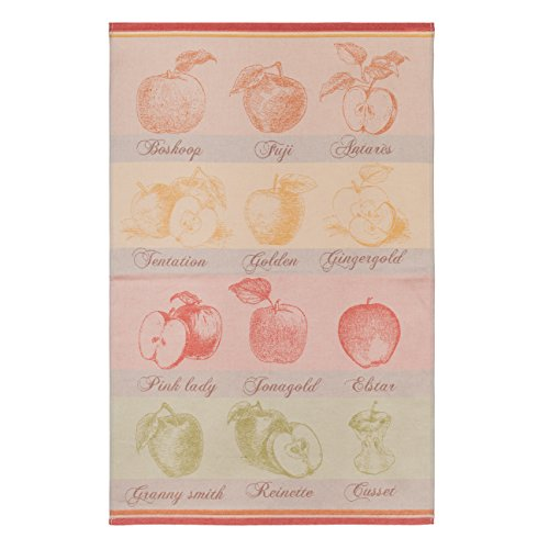 Apple Kitchen Tea Towel - COUCKE French Cotton Jacquard Towel, Quartiers de Pomme (Apples) Rouge, 20-Inches by 30-Inches, Multi Colored