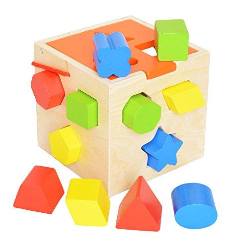 Tooky Toy - Cube avec 12 figures en bois pour emboîter - Jouet éducatif pour le premier âge