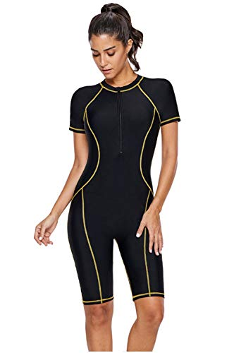 (Women's One Piece Rash Guard Zip Front, Full Body Cover Wetsuit, Sun Protection Long Sleeve Dive Skin Surf Suit S-XXXL (M(US 8-10), Black Yellow))