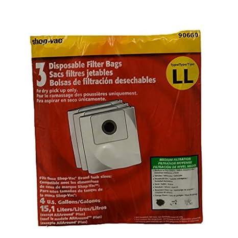 Shop Vac Corporation 90660-00 Paper Bag, 4 Gallon All Around Type LL 3 Pk