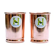 Copper Tumbler Set of 2 | Traveller's Copper Mug With Copper Lids by HealthGoodsIn™
