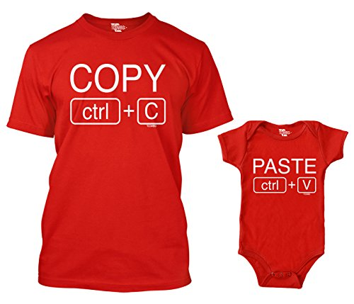 Copy/Paste Matching Bodysuit & Men's T-Shirt (Red/Red, Large/6 Months)