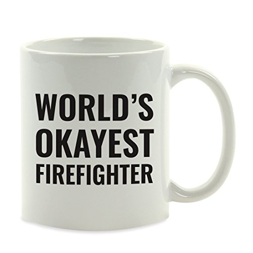 Andaz Press 11oz. Coffee Mug Gag Gift, World's Okayest Firefighter, 1-Pack, Funny Witty Coffee Cup Birthday Christmas Present Ideas (World's Best Girlfriend Mug)