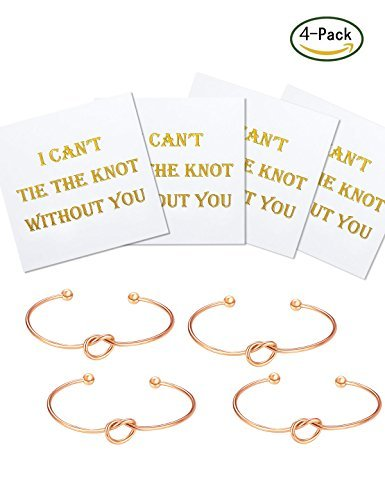 Flower Girl Gifts Will You Be My Bridesmaid Bridesmaid Gifts Love Knot Bracelet Tie the Knot Bangle Adjustable Bracelet For Women Set of 4 Anniversary Gifts for Her Birthday Gifts for Wife Girlfriend
