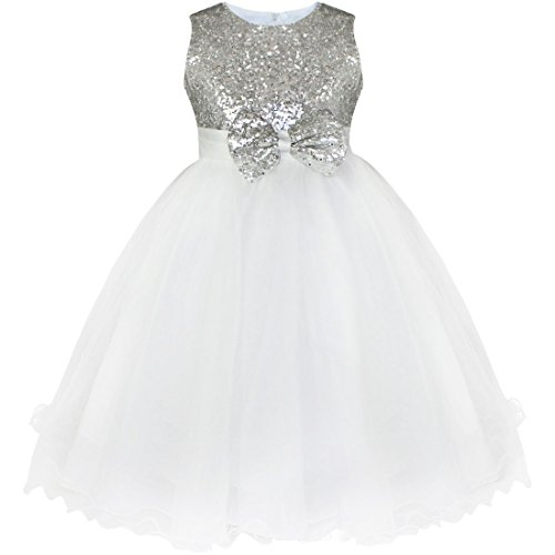 YiZYiF Little Girls' Sequined Wedding Party Princess Tulle Dress Silver 2