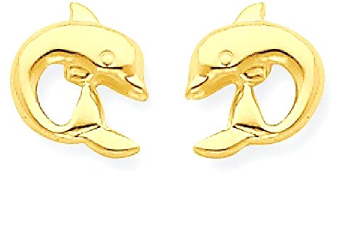 Gold Dolphin Post Earrings - 2