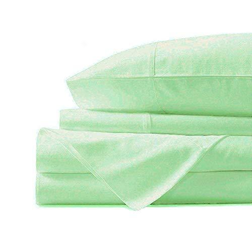 Jvin Fab Luxury Tencel Christmas Bedding - Lyocell Sheets 4 Piece Bed Sheet Set Deep Pocket 100% Tencel Natural Organic Silky Soft Bedsheets Pillow Cases Woven Sateen Queen Size - Mint