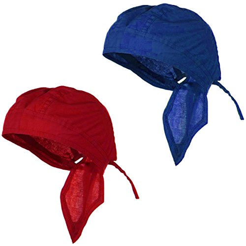Do Wrap Cotton Headband (Doo Rag Du Rag Do Cotton Solid Color Bandana Head Wrap Chemo Cap (Red and Royal Blue))