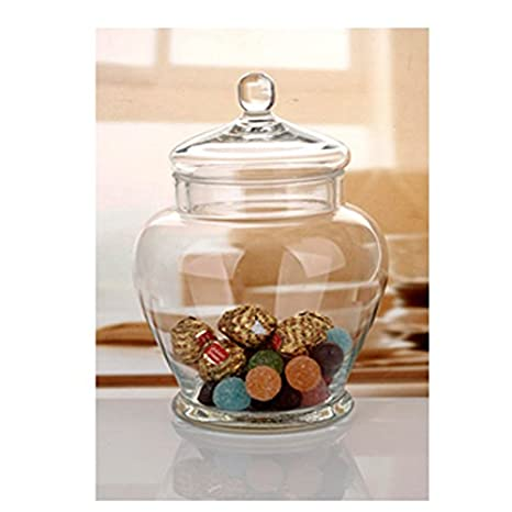 Amazon Com Elegant Clear Glass Apothecary Jar With Lid 11 Inch