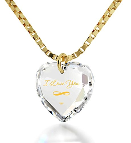 Nano Jewelry Infinity I Love You Necklace 24k Gold Inscribed on a Tiny Heart Pendant Crystal, 18