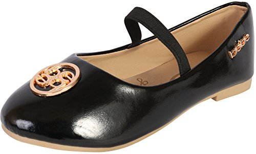bebe Girls Metallic Ballet Flats, Black, 6 M US Toddler'