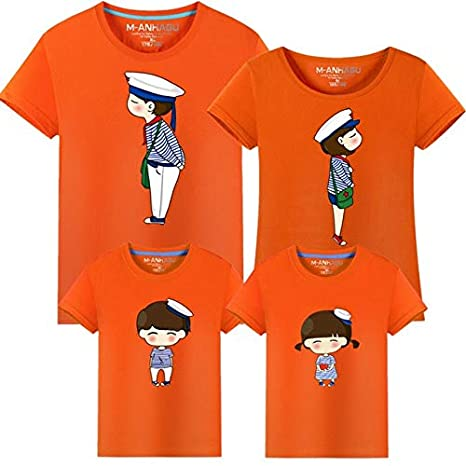 090cde3281 Godier Family Matching Outfits Father Mother Daughter Son Clothes Look  Tshirt Daddy Mommy and me Dress mom Mum Baby Kid Clothing : Orange, F(XL):  Amazon.in: ...