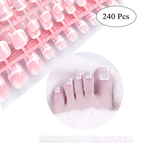 SIUSIO 240 Pcs French Toe Nails Full Cover UV Top Coat Covered Short Press on Natural False Acrylic Nails Foot Art Tips Sets for Daily Use No Glue Included(pink) -