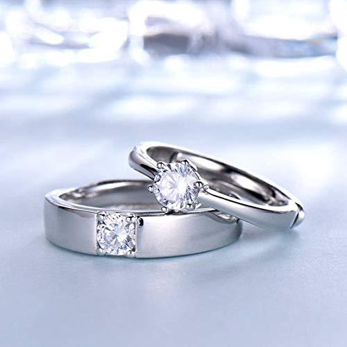 Amazon Com 2pcs Round Cut Cz Diamond Engagement Ring Wedding Band