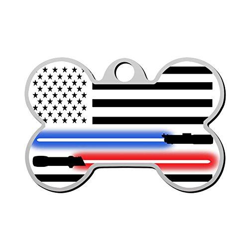 HAOPENGYOU Lightsaber American flag Horizontal Custom Pet ID Tags Personalized Bone Shape Dog Tags & Cat Tags ()
