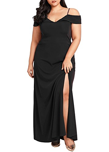 Dearlove Women's Plus Size Off Shoulder V Neck Evening Party Maxi Dress