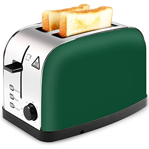 LATITOP Toaster 2 Slice with Wide Slot for Bagels, Small& Large Bread Slices, Brushed Stainless Steel Toaster with Removable Crumb Tray, 7 Shade Setting, Led Indicator, High Lift Lever (Green)