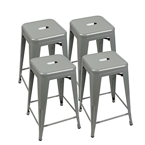Koonlert@shop Classic Style Kitchen Dining Room Chair Stackable Backless Solid Metal Seat Set of 4 Metal Barstools Indoor Outdoor Counter/Grey #1049b (Australia Online Cheap Furniture Outdoor)