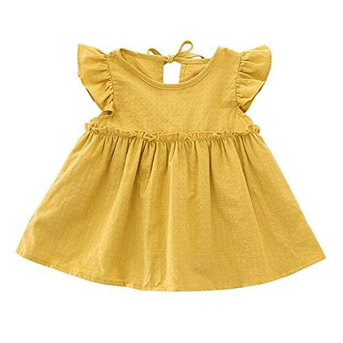 Loosebee Newborn Baby Dress,Summer Ruffle Solid Linen Elegant Princess Party Dress Clothes Beachwear Sets Yellow