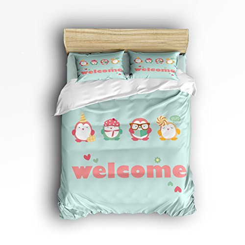 YEHO Art Gallery Bedding Sets 4 Piece Cute Animal Cartoon Bird Welcome Pattern Reversible Comforter Duvet Cover Set 1 Flat Sheet 1 Duvet Cover and 2 Pillow Case by (Queen Size) by YEHO Art Gallery