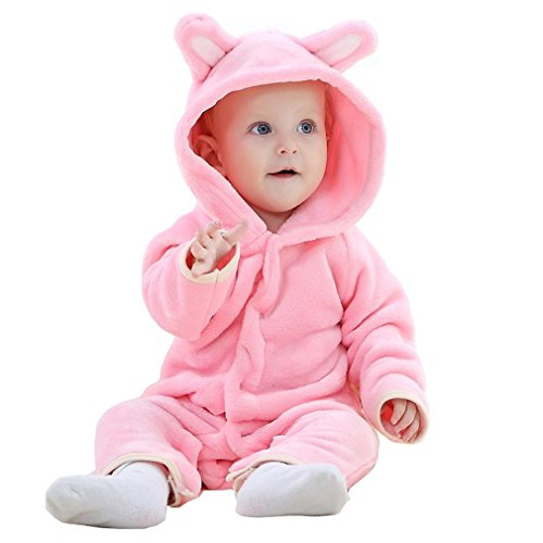 MICHLEY Baby Girls Boys Romper Bear Style Jumpsuit Autumn & Winter Cosplay Clothes Pink-90]()