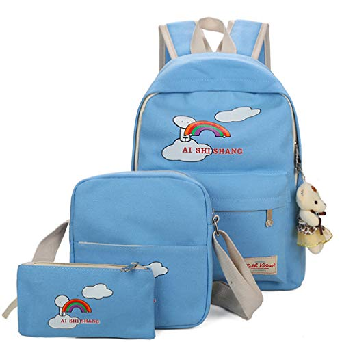 Backpacks Blue L29cm H38cm Pink Rose W12cm Printing Bear Lake School Sets Girls Cartoon 3Pcs Backpack qw6FBEE