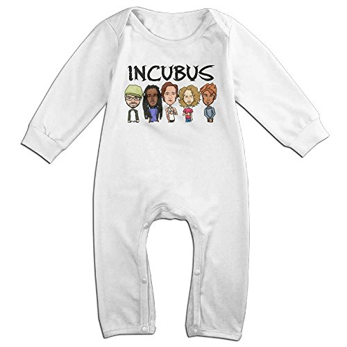 [Mmo-J Newborn Babys Incubus Band Cartoon Long Sleeve Bodysuit Outfits White Size 18 Months] (John Smith Costume Vest)