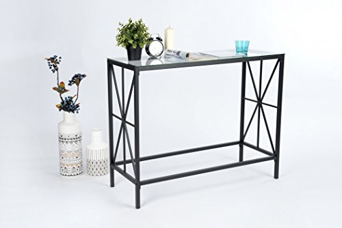 """41b76ty5h9L - Black Metal Frame / Clear Tempered Glass X-Design Console Sofa Table 40""""W"""