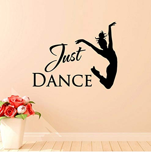 Dalxsh Ballet Dancer Wall Stickers Quotes Just Dance Elegant Dance Studio Wall Decals for Kids Rooms Girls Home Art Removable DIY 34x42cm ()