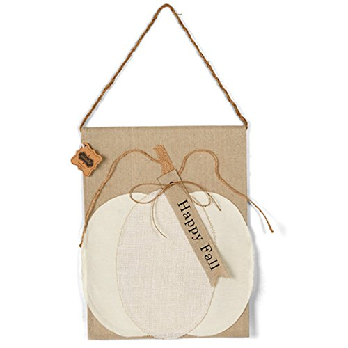 Mud Pie 4265260 Linen Happy Fall Pumpkin Door Hanger