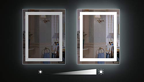 HAUSCHEN 36 x 28 inch LED Lighted Bathroom Wall Mounted Mirror with 5500K High Lumen + CRI>90 Cold White Lights and Anti Fog and Dimmable Memory Touch Button + IP44 Waterproof + Vertical & Horizontal by HAUSCHEN HOME (Image #5)