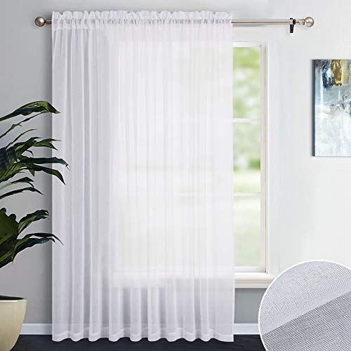 "NICETOWN Patio Door Sheer Curtain Panel - Vertical Semi Sheer Drapery Linen Look Texture Semi-Voile Window Drape for Sliding Glasss Door (100"" X 84"", 1 Piece)"