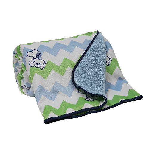 Bedtime Originals Snoopy Blue/Green/White Chevron Velour Sherpa Baby Blanket ()