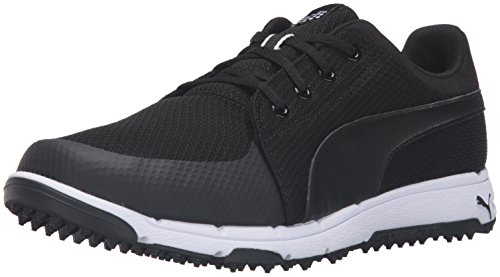 PUMA Men's Grip Sport Golf Shoe, Black/White, 9.5 Medium