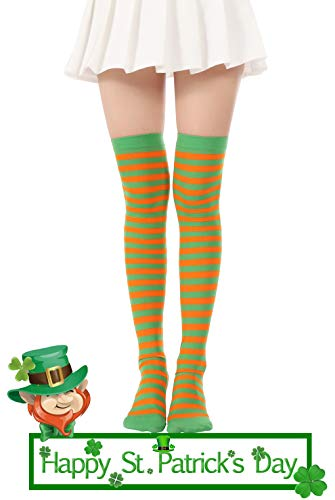 Over Knee Long Striped Stockings Saint Patrick's Day Socks Costume Thigh High Tights(01 Green Orange Tights) -