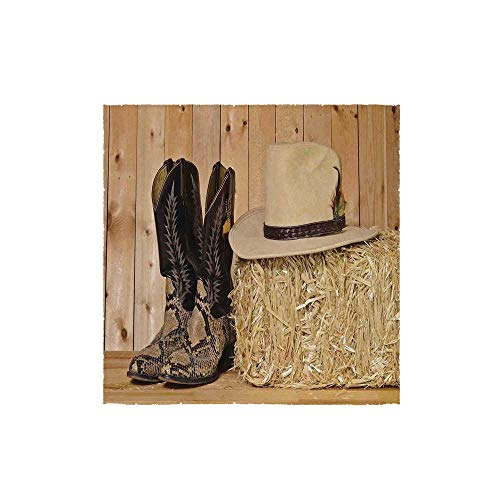 C COABALLA Western Decor Durable Square Small Towel,Snake Skin Cowboy Boots Timber Planks in Barn with Hay Old West Austin Texas for Bathroom,13