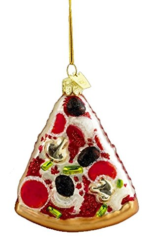 Noble Gems Kurt Adler 3-1/2-Inch Glass Pizza Slice Ornament