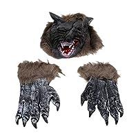 Amosfun Halloween Werewolf Costume Wolf Head Claw Gloves Wolf Head Mask