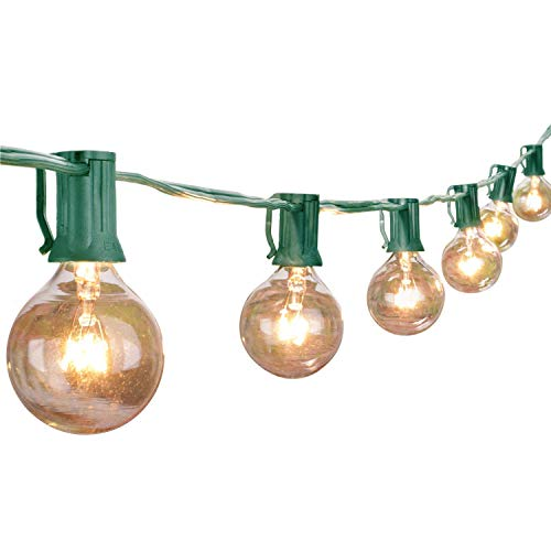 G40 Globe String Lights with 25 Clear Bulbs, UL List for indoor Outdoor Commercial Use, Vintage Backyard Patio Lights, Outdoor String Lights for Garden Pergola Decks Cafe Market Hanging Lights(Green) ()