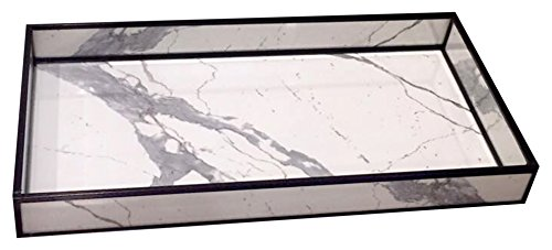 nu steel Decorative Glass Marble Print, Bathroom Countertop or Toilet Tank Storage Tray for Towels, Candles, Jewellery