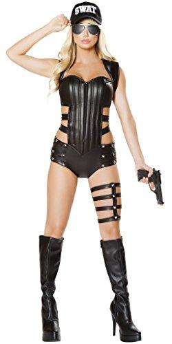 Hot Fuzz Fancy Dress Costume (Hot Fuzz SWAT Woman Halloween Costume - Black - Large)